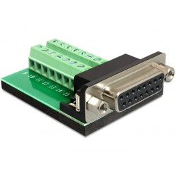 Delock Adapter Sub-D 15pin Gameport female Terminal block 16pin