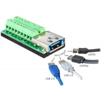 Delock Adapter Multiport USB 3.0 + eSATAp female Terminal Block 18pin