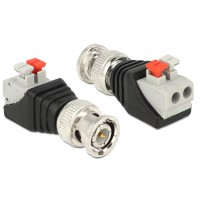 Delock Adapter BNC male Terminal Block with push button 2pin